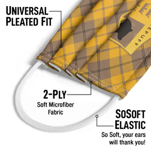 Harry Potter Hufflepuff Plaid Logo Kids Universal Pleated Fit, 2-Ply, SoSoft Elastic Earloops