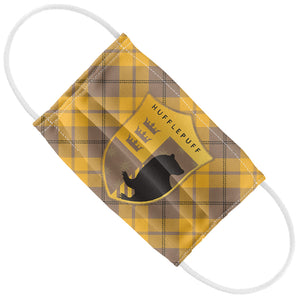 Load image into Gallery viewer, Harry Potter Hufflepuff Plaid Logo Kids Flat View