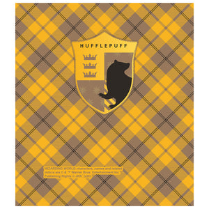 Load image into Gallery viewer, Harry Potter Hufflepuff Plaid Logo Kids Mask Design Full View