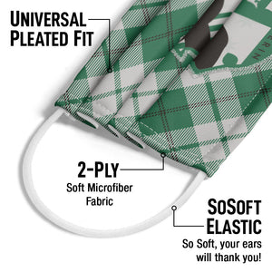 Harry Potter Slytherin Plaid Logo Adult Universal Pleated Fit, 2-Ply, SoSoft Elastic Earloops