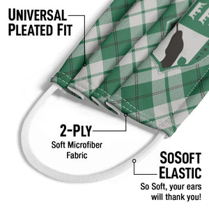 Harry Potter Slytherin Plaid Logo Kids Universal Pleated Fit, 2-Ply, SoSoft Elastic Earloops