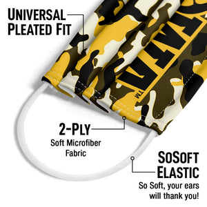 University of Iowa Hawkeyes Camo Adult Universal Pleated Fit, 2-Ply, SoSoft Elastic Earloops