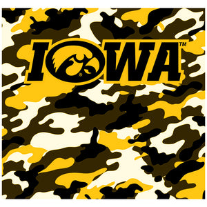 University of Iowa Hawkeyes Camo Adult Mask Design Full View