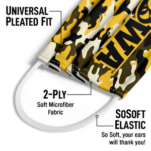 Load image into Gallery viewer, University of Iowa Hawkeyes Camo Kids Universal Pleated Fit, 2-Ply, SoSoft Elastic Earloops