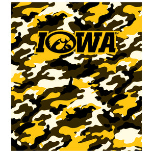 Load image into Gallery viewer, University of Iowa Hawkeyes Camo Kids Mask Design Full View