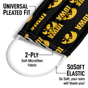 University of Iowa Hawkeyes Logo Repeat -  Iowa Home Adult Universal Pleated Fit, 2-Ply, SoSoft Elastic Earloops