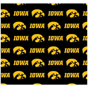 University of Iowa Hawkeyes Logo Repeat -  Iowa Home Adult Mask Design Full View