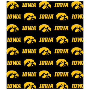 Load image into Gallery viewer, University of Iowa Hawkeyes Logo Repeat -  Iowa Home Kids Mask Design Full View