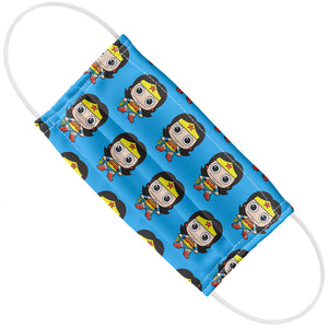 Wonder Woman Cute Chibi Pattern Adult Flat View