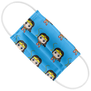 Load image into Gallery viewer, Wonder Woman Cute Chibi Golden Lasso Pattern Kids Flat View