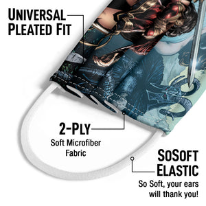Load image into Gallery viewer, Wonder Woman Sword in Hand Kids Universal Pleated Fit, 2-Ply, SoSoft Elastic Earloops