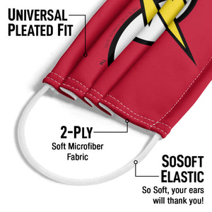 The Flash Lightning Bolt Logo Adult Universal Pleated Fit, 2-Ply, SoSoft Elastic Earloops