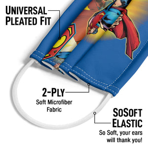 Superman Collage Adult Universal Pleated Fit, 2-Ply, SoSoft Elastic Earloops