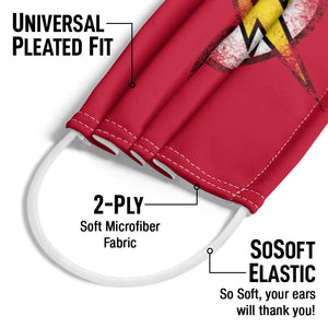 The Flash Destroyed Logo Adult Universal Pleated Fit, 2-Ply, SoSoft Elastic Earloops