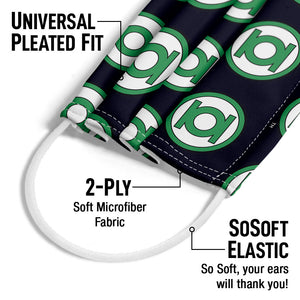 Green Lantern Circle Logo Pattern Adult Universal Pleated Fit, 2-Ply, SoSoft Elastic Earloops