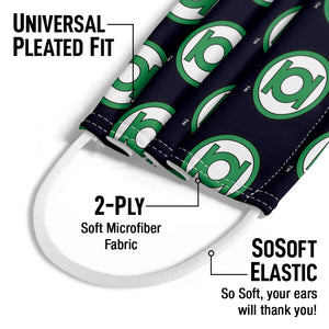 Green Lantern Circle Logo Pattern Kids Universal Pleated Fit, 2-Ply, SoSoft Elastic Earloops