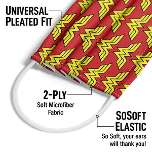 Wonder Woman Classic Logo Pattern Adult Universal Pleated Fit, 2-Ply, SoSoft Elastic Earloops
