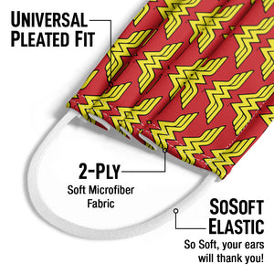 Wonder Woman Classic Logo Pattern Kids Universal Pleated Fit, 2-Ply, SoSoft Elastic Earloops