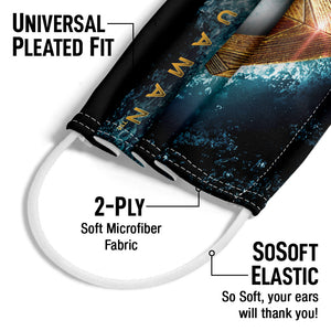 Justice League Movie Aquaman Logo Adult Universal Pleated Fit, 2-Ply, SoSoft Elastic Earloops