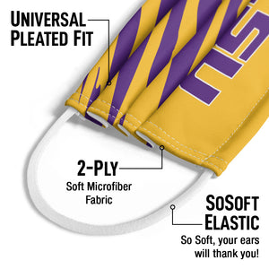 LSU Tiger Stripes Kids Universal Pleated Fit, 2-Ply, SoSoft Elastic Earloops
