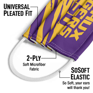 LSU Geaux Tigers Kids Universal Pleated Fit, 2-Ply, SoSoft Elastic Earloops