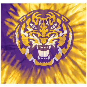 Load image into Gallery viewer, Louisiana State University (LSU) Tie Dye Adult Mask Design Full View