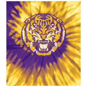 Load image into Gallery viewer, Louisiana State University (LSU) Tie Dye Kids Mask Design Full View