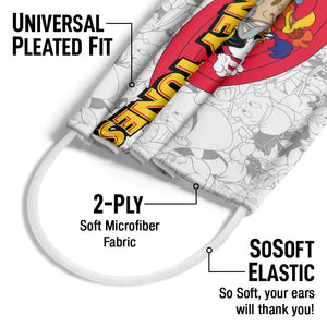 Looney Tunes Logo and Pattern Adult Universal Pleated Fit, 2-Ply, SoSoft Elastic Earloops