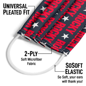 Rocky Repeat Pattern Adult Universal Pleated Fit, 2-Ply, SoSoft Elastic Earloops