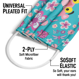 Pink Panther Butterflies and Flowers Pattern Adult Universal Pleated Fit, 2-Ply, SoSoft Elastic Earloops