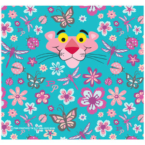 Pink Panther Butterflies and Flowers Pattern Adult Mask Design Full View