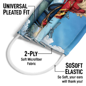 Load image into Gallery viewer, Captain Marvel Jets Adult Universal Pleated Fit, 2-Ply, SoSoft Elastic Earloops