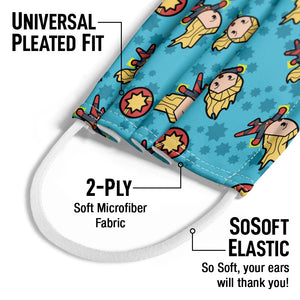 Load image into Gallery viewer, Captain Marvel Kawaii Kids Universal Pleated Fit, 2-Ply, SoSoft Elastic Earloops