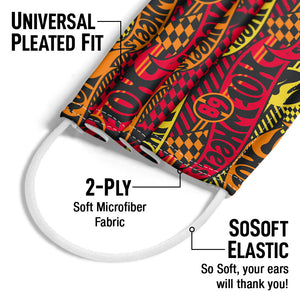 Hot Wheels Fired Up Pattern Adult Universal Pleated Fit, 2-Ply, SoSoft Elastic Earloops