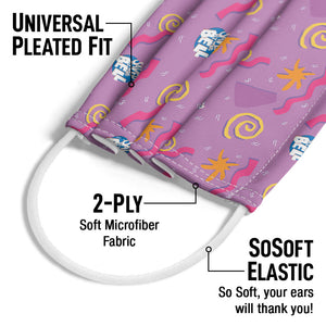 Saved by the Bell Magenta Retro Pattern Adult Universal Pleated Fit, 2-Ply, SoSoft Elastic Earloops