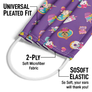 Jojo Siwa Donuts and Cupcakes Pattern Adult Universal Pleated Fit, 2-Ply, SoSoft Elastic Earloops