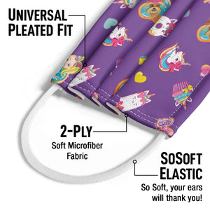 Jojo Siwa Donuts and Cupcakes Pattern Kids Universal Pleated Fit, 2-Ply, SoSoft Elastic Earloops