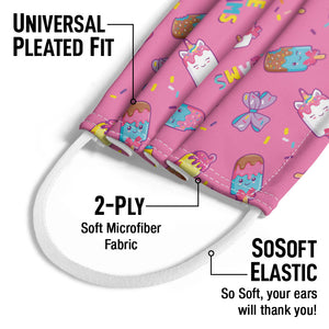 Jojo Siwa Ice Cream Day Dream Pattern Kids Universal Pleated Fit, 2-Ply, SoSoft Elastic Earloops