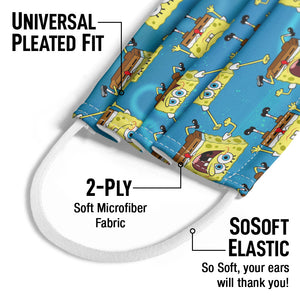 Spongebob Squarepants Pattern Kids Universal Pleated Fit, 2-Ply, SoSoft Elastic Earloops