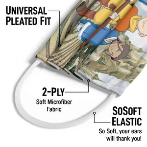 Avatar: The Last Airbender Cast of Characters Kids Universal Pleated Fit, 2-Ply, SoSoft Elastic Earloops