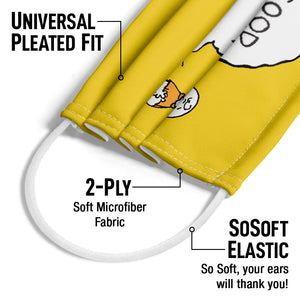 Peanuts Charlie Brown Good Grief Adult Universal Pleated Fit, 2-Ply, SoSoft Elastic Earloops