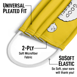 Peanuts Charlie Brown Good Grief Kids Universal Pleated Fit, 2-Ply, SoSoft Elastic Earloops