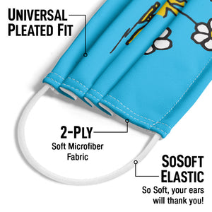 Peanuts Woodstock Smell the Flowers Adult Universal Pleated Fit, 2-Ply, SoSoft Elastic Earloops