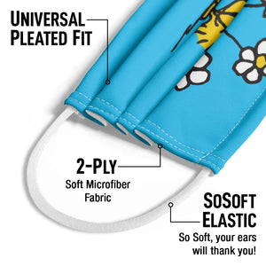 Peanuts Woodstock Smell the Flowers Kids Universal Pleated Fit, 2-Ply, SoSoft Elastic Earloops