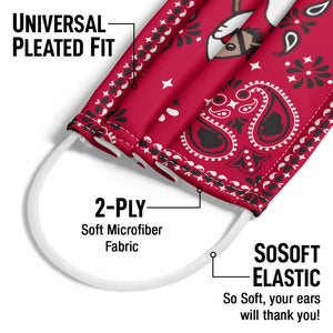 Peanuts Snoopy Cowboy Red Bandana Adult Universal Pleated Fit, 2-Ply, SoSoft Elastic Earloops