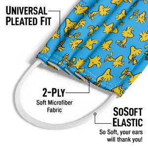 Peanuts Woodstock Pattern Kids Universal Pleated Fit, 2-Ply, SoSoft Elastic Earloops