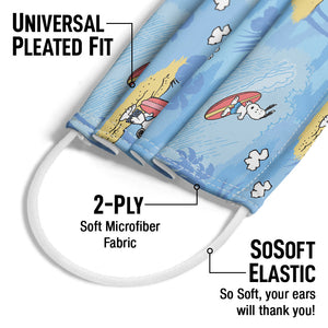 Load image into Gallery viewer, Peanuts Beach Snoopy Pattern Adult Universal Pleated Fit, 2-Ply, SoSoft Elastic Earloops