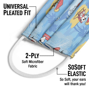 Peanuts Beach Snoopy Pattern Kids Universal Pleated Fit, 2-Ply, SoSoft Elastic Earloops