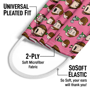 Peanuts Peppermint Patty Repeat Kids Universal Pleated Fit, 2-Ply, SoSoft Elastic Earloops