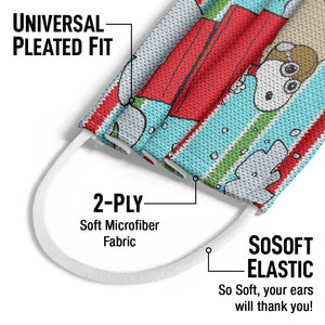 Peanuts Snoopy Red Baron Kids Universal Pleated Fit, 2-Ply, SoSoft Elastic Earloops